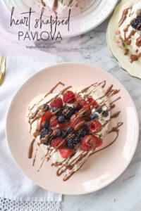 overhead shot of pavlova on a plate