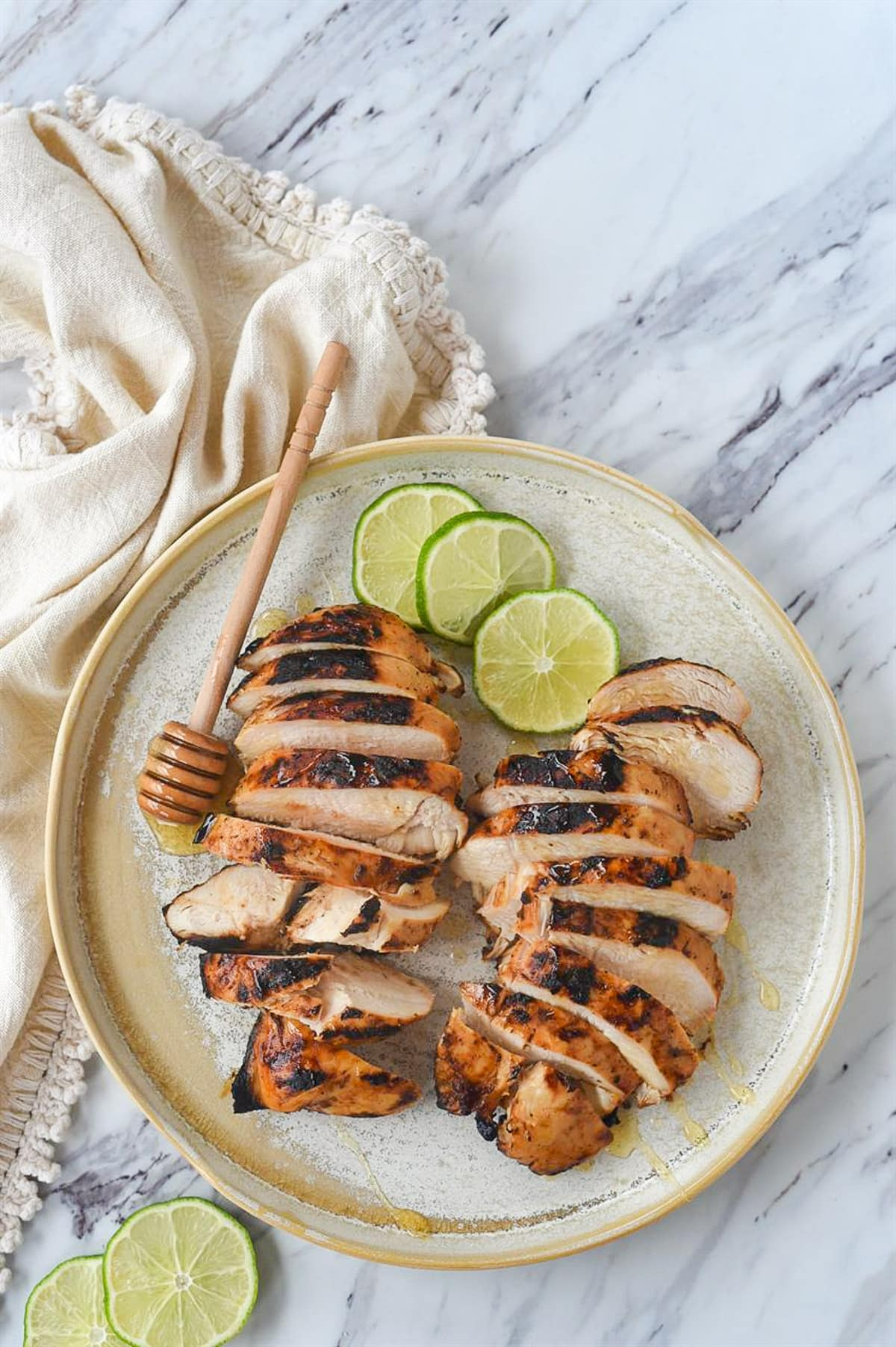 overhead view of honey lime chicken