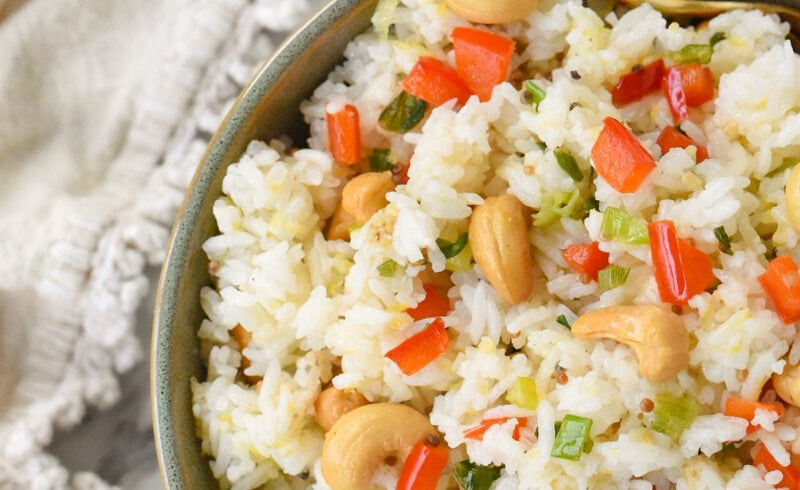 overhead shot of bowl of cashew nut rice