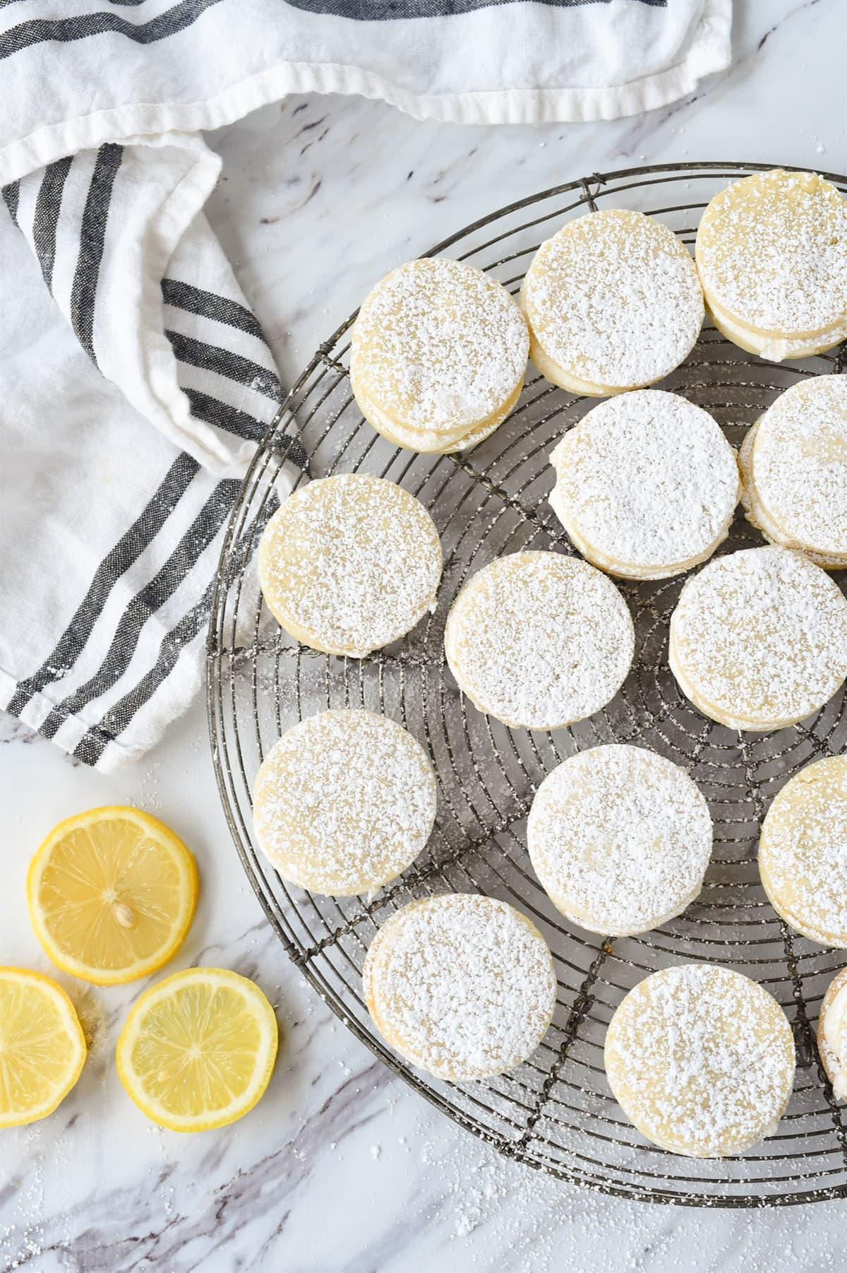 lemon dream cookies with powdered sugar on top