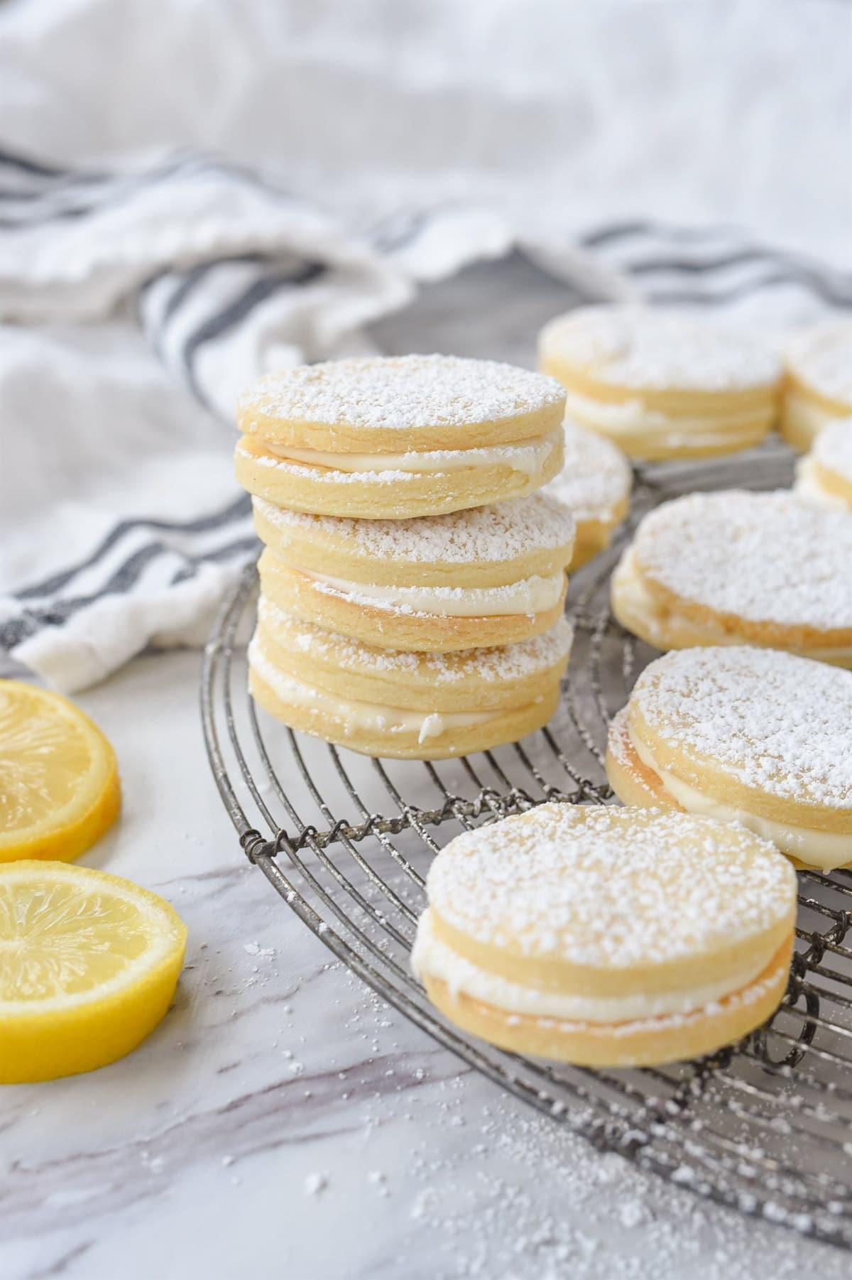 stack of lemon sandwich cookies