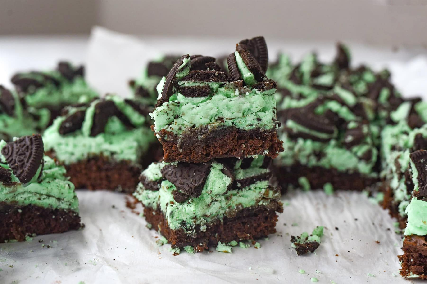 Mint Oreo Brownies in a stack