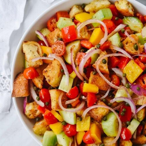 bowl of panzanella salad