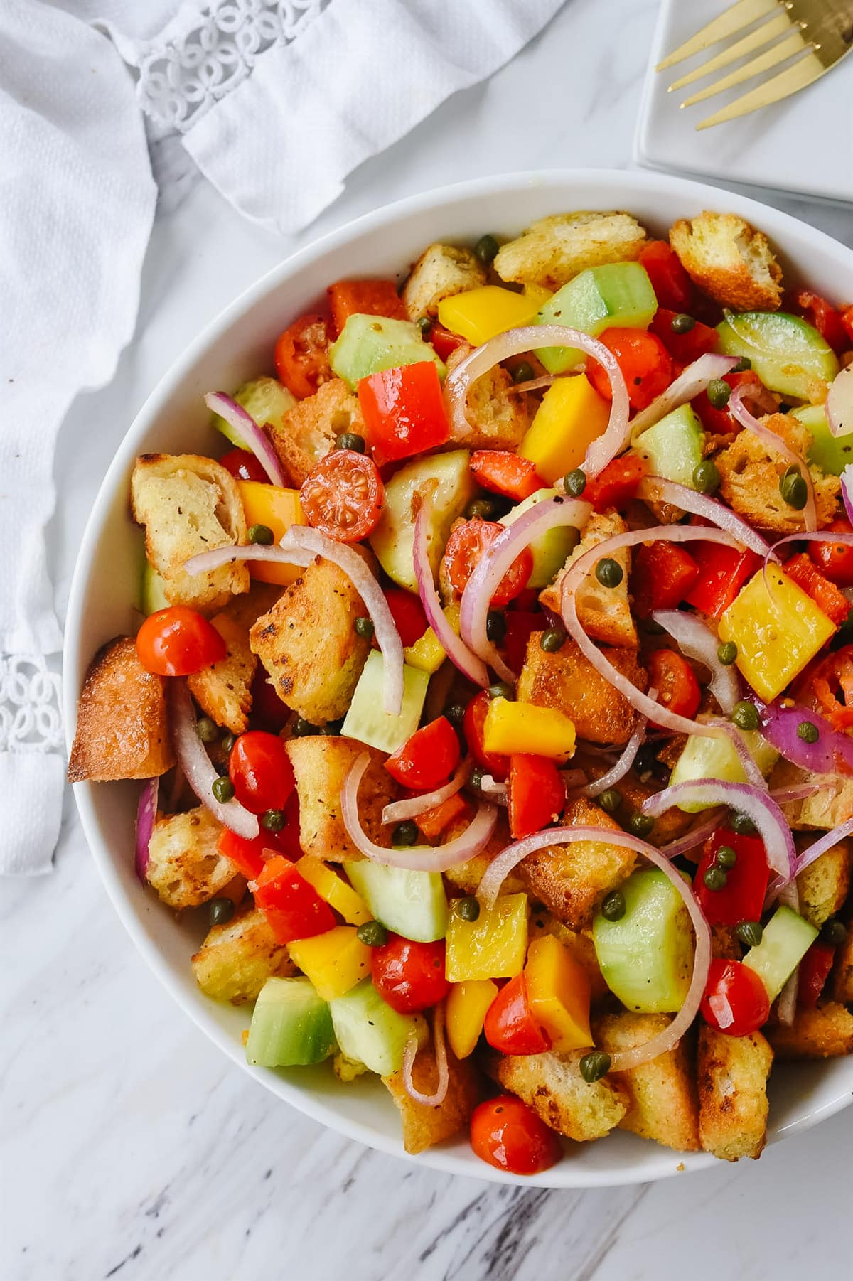 bowl of panzanella salad
