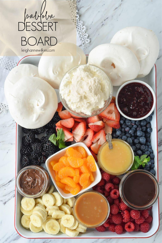 overhead shot of pavlova dessert board