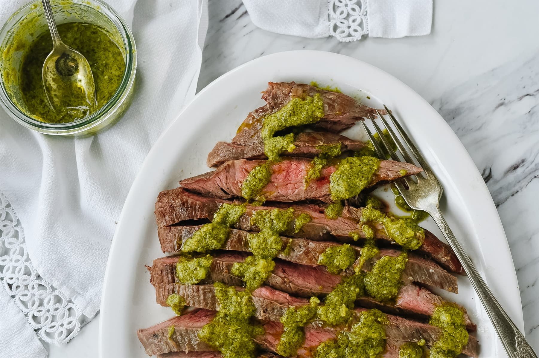 sliced pesto flank steak