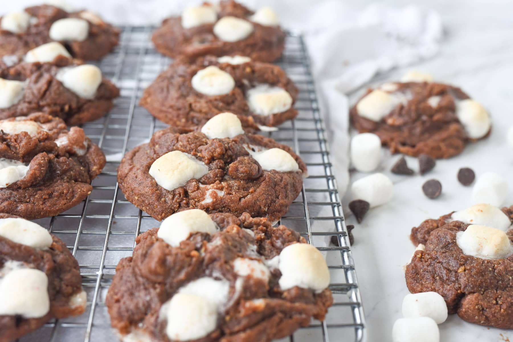 s'mores cookies on a rack