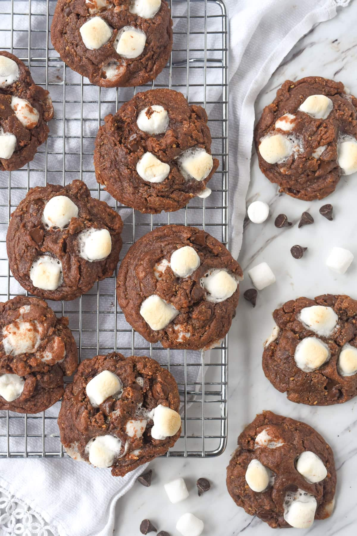 cookies with marshmallows on a cooling rack