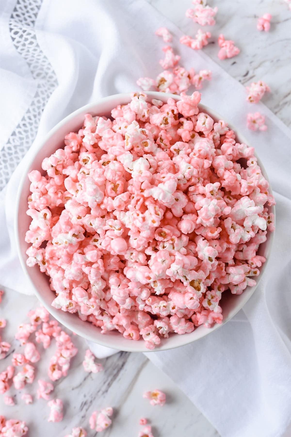 overhead shot of pink popcorn