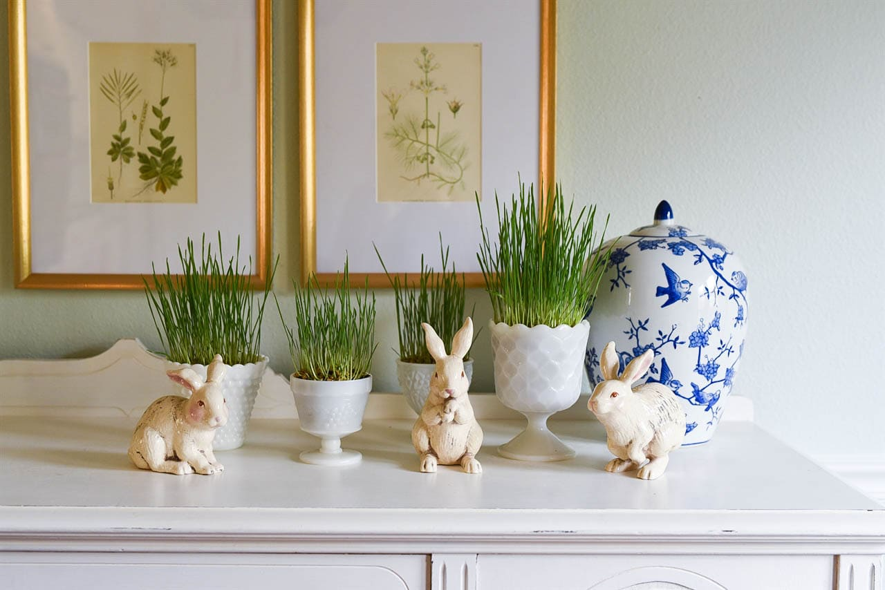 easter grass in milk glass