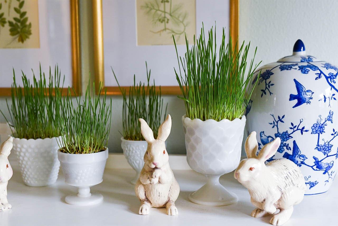 easter grass in milkglass