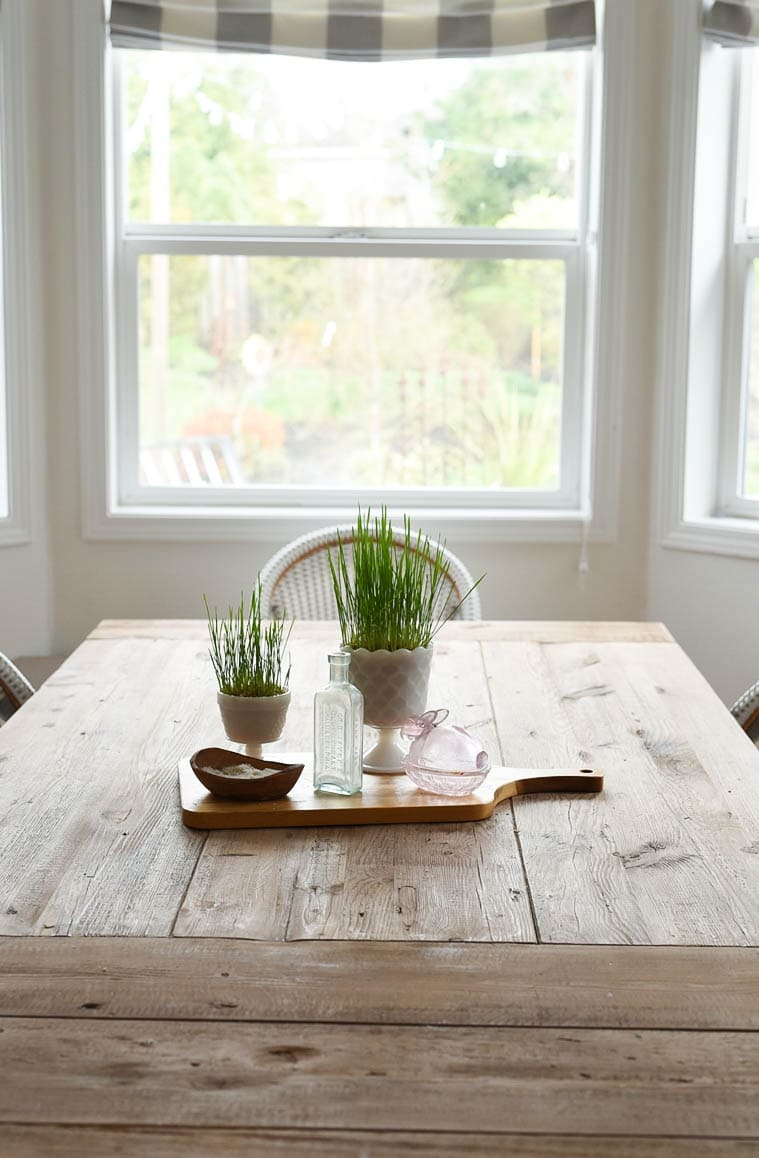 easter grass on table