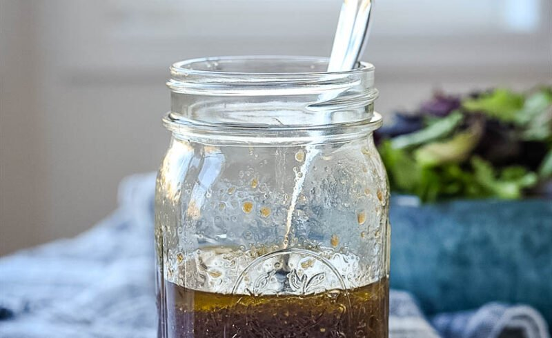 balsamic dressing in a canning jar