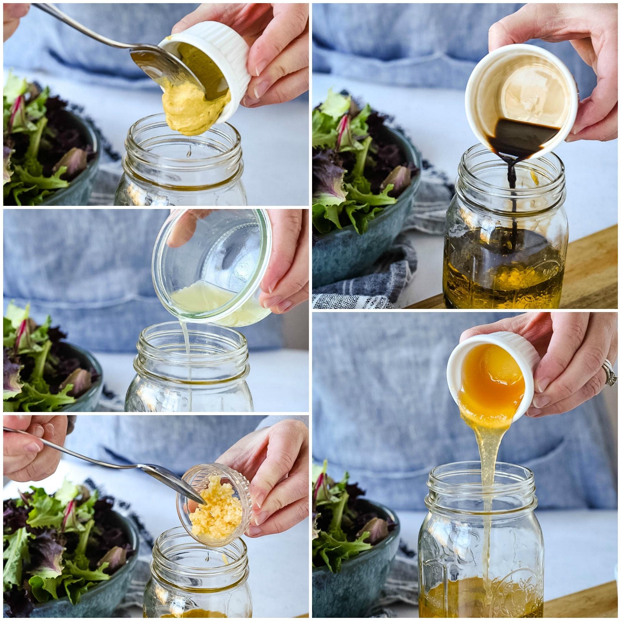 collage of vinaigrette ingredients
