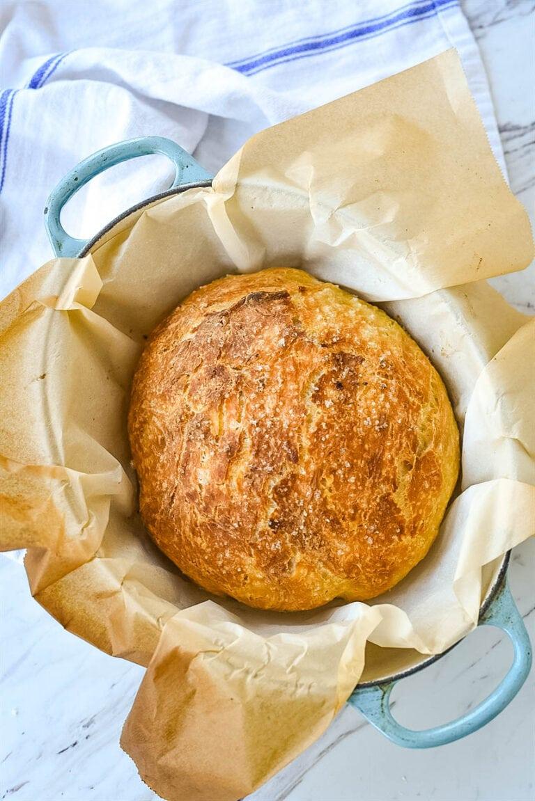 No knead bread in a pan