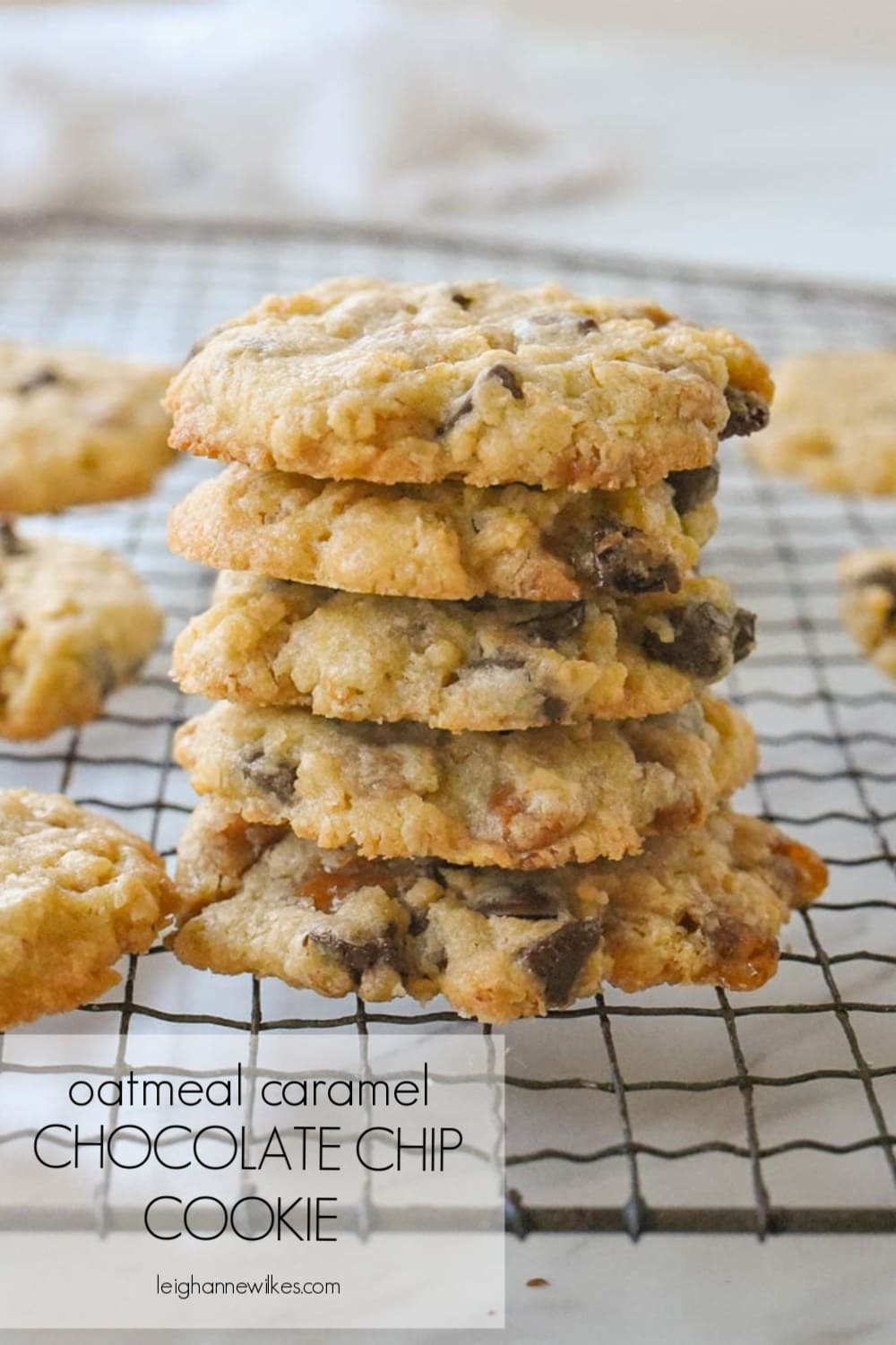 stack of oatmeal caramel chocolate chip cookies