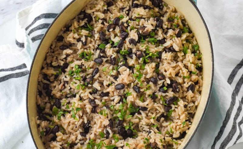 overhead shot of pan of black beans and rice