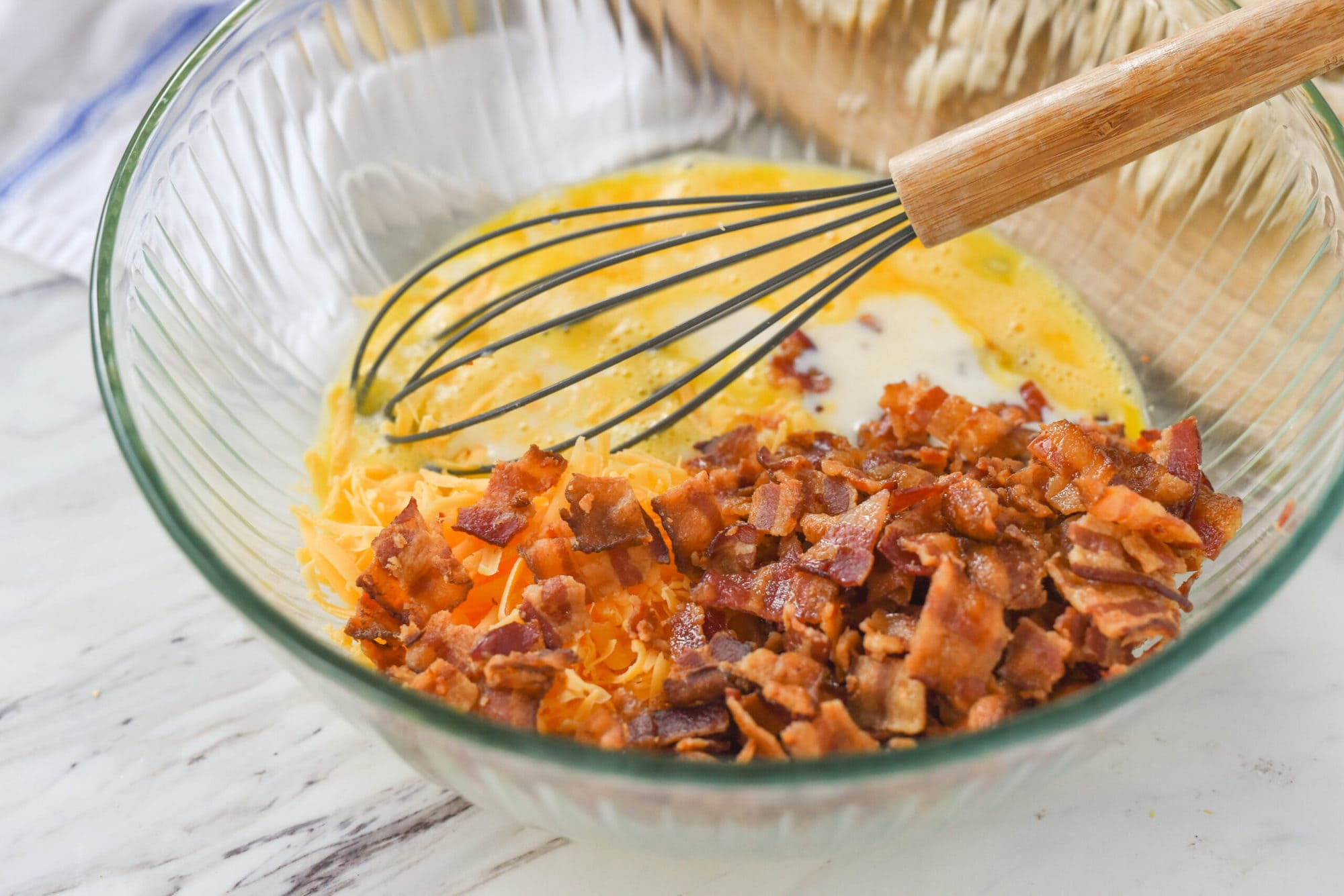 bacon casserole mixture in a bowl