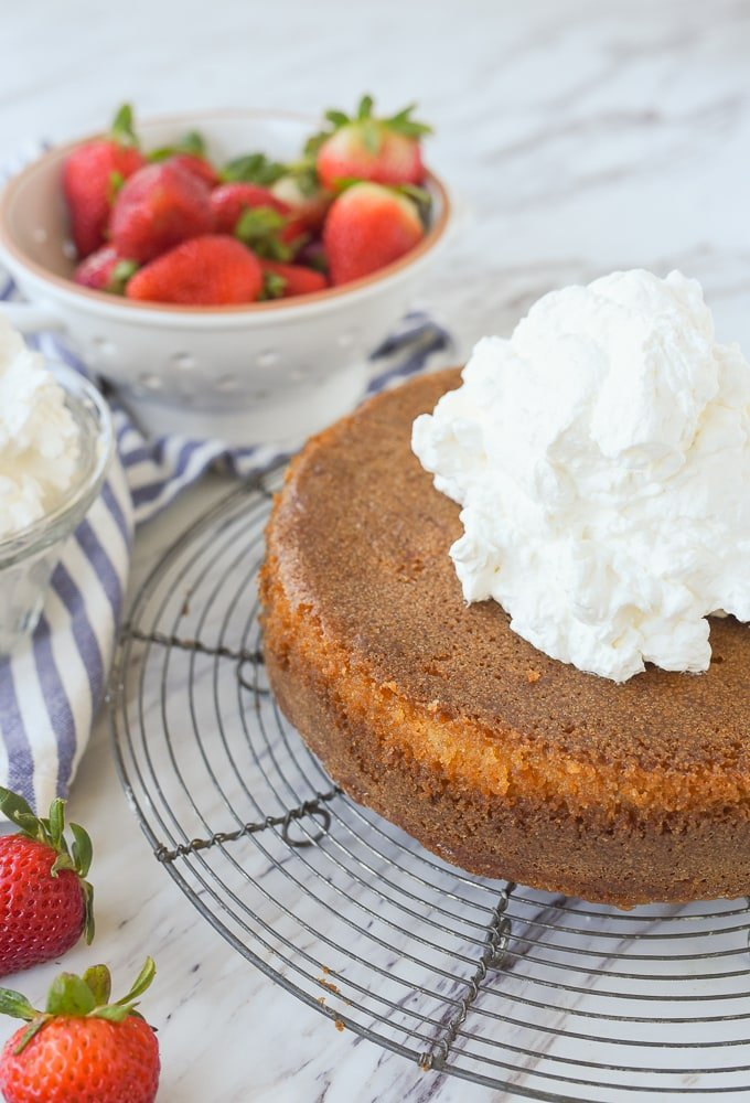 whipped cream on buttermilk cake