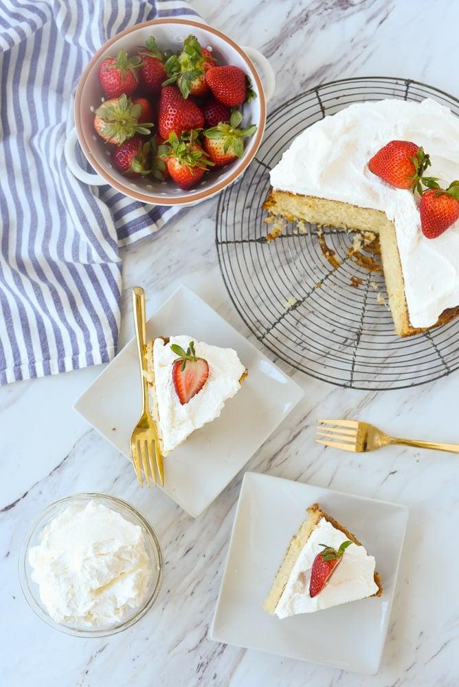overhead shot of sliced buttermilk cake