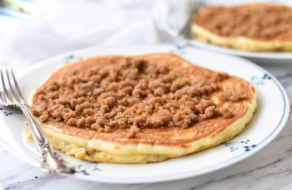 two large streusel pancakes
