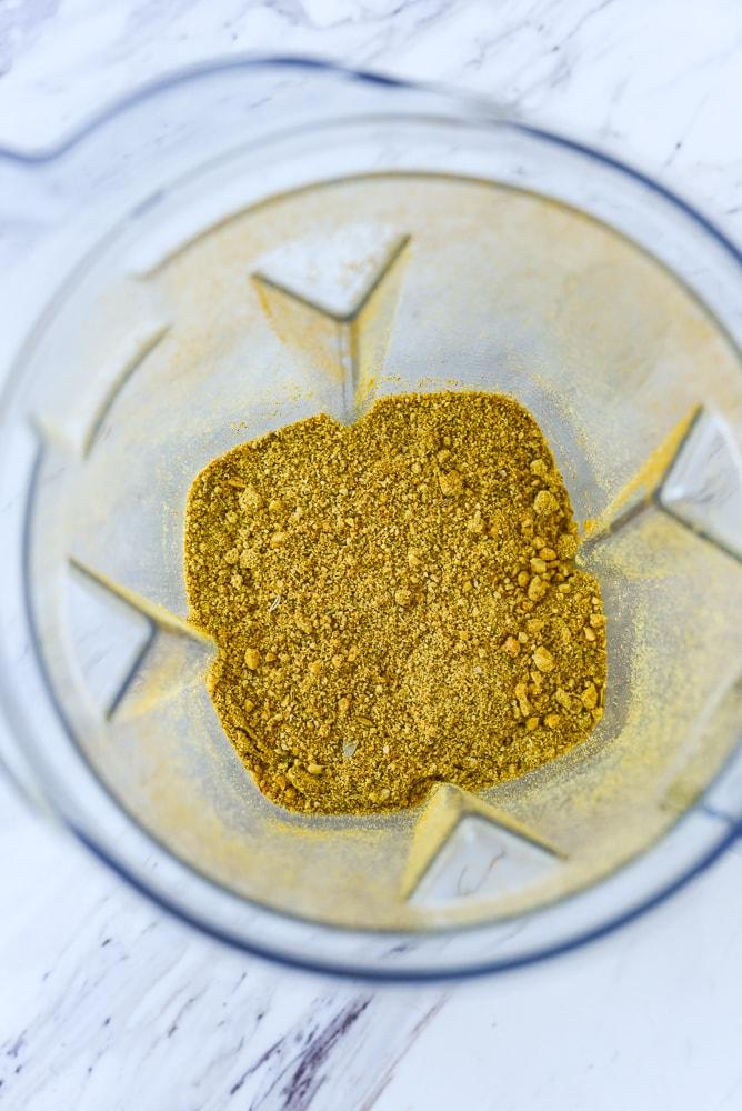 grond up spices in blender