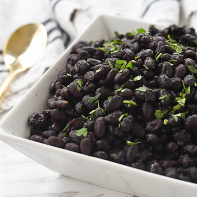 instant pot black beans in white bowl