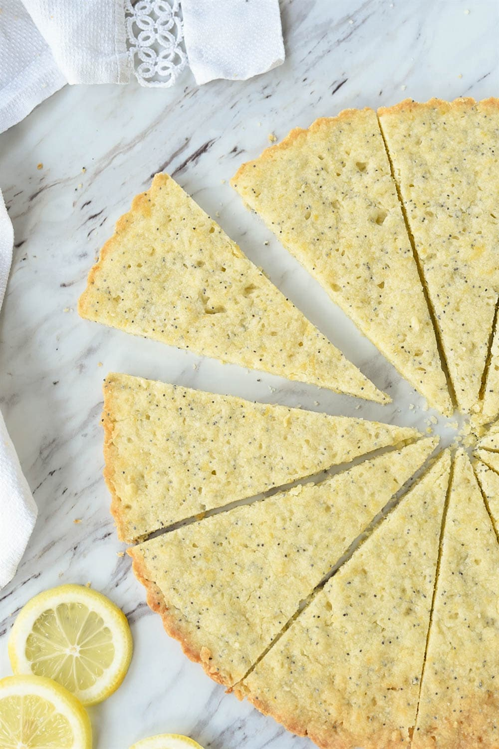 slices of lemon poppyseed shortbread