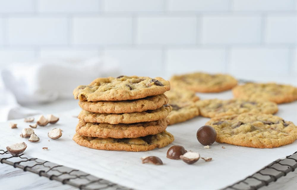 stack of malted milk ball cookies
