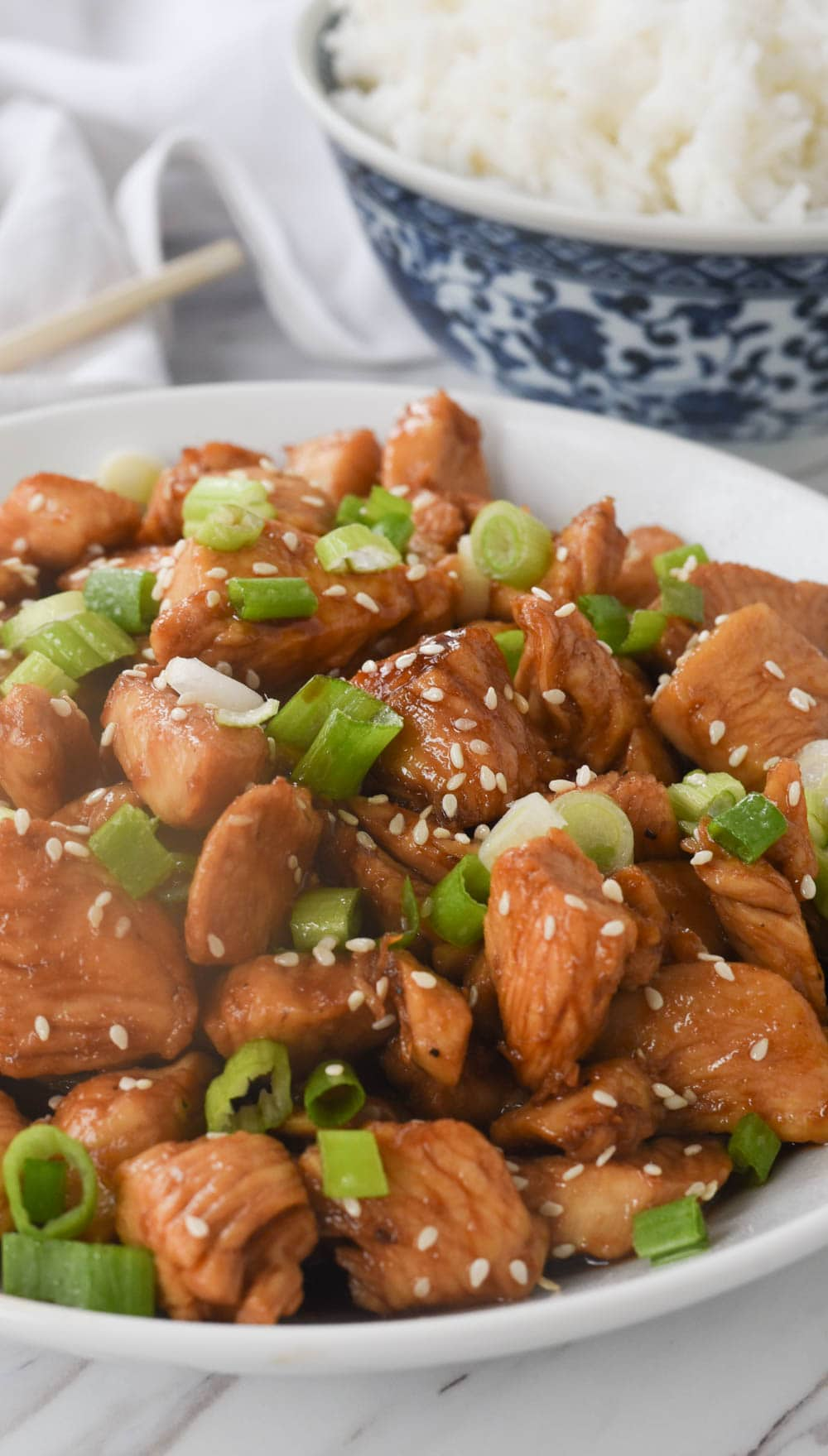 close up of sesame chicken