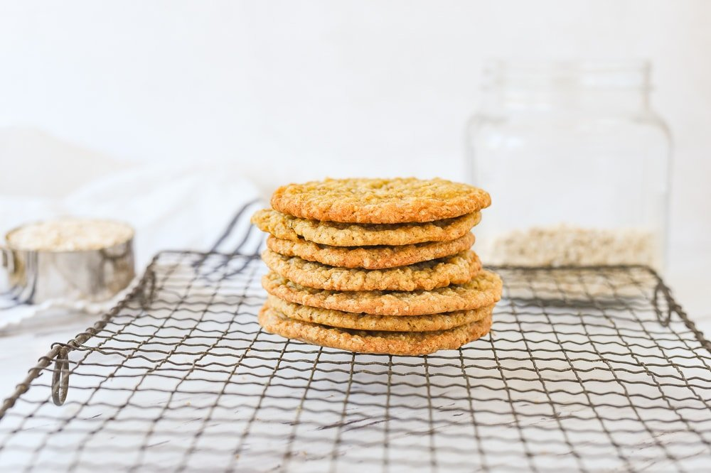 stack of oatmeal cookies on a cooling rack