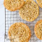 overhead shot of crispy oatmeal cookies