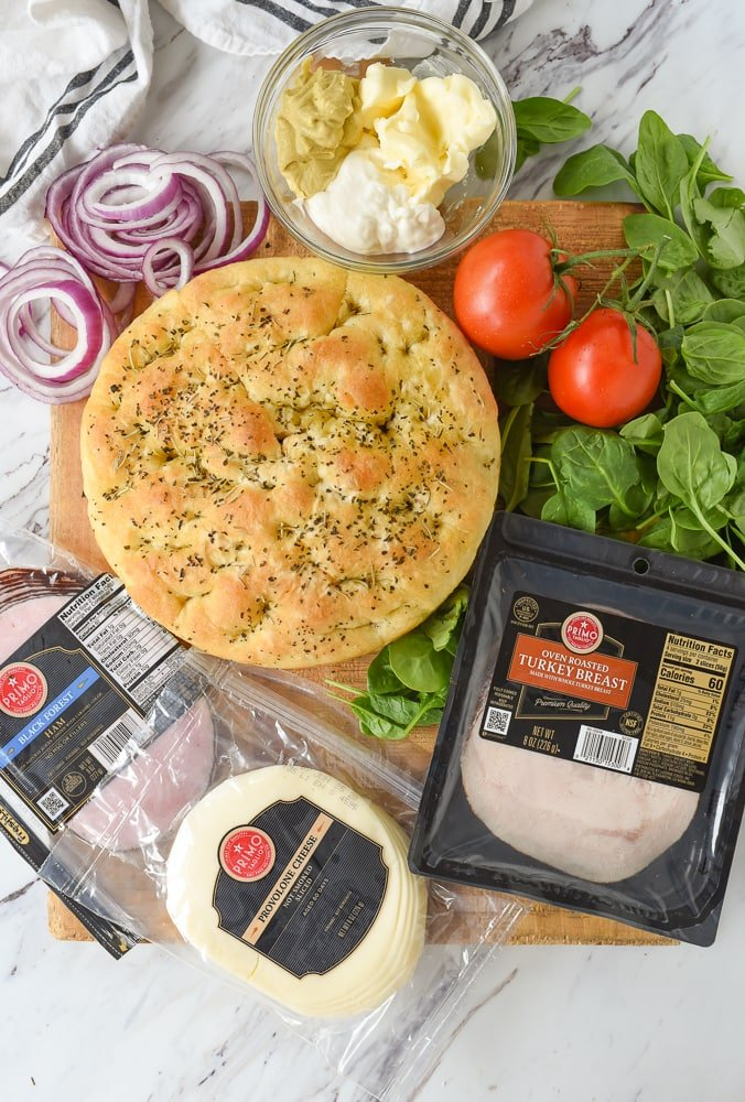 ingredients for focaccia sandwich