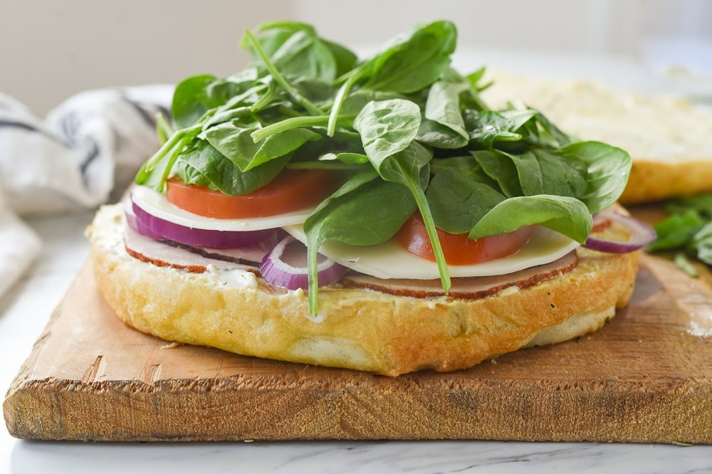 focaccia sandwich with ingredients on it