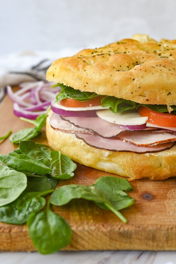 side view of a focaccia bread sandwich