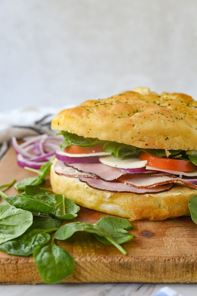 side view of a focaccia sandwich