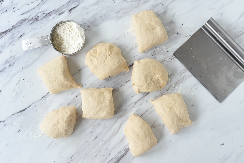 pieces of pita bread dough