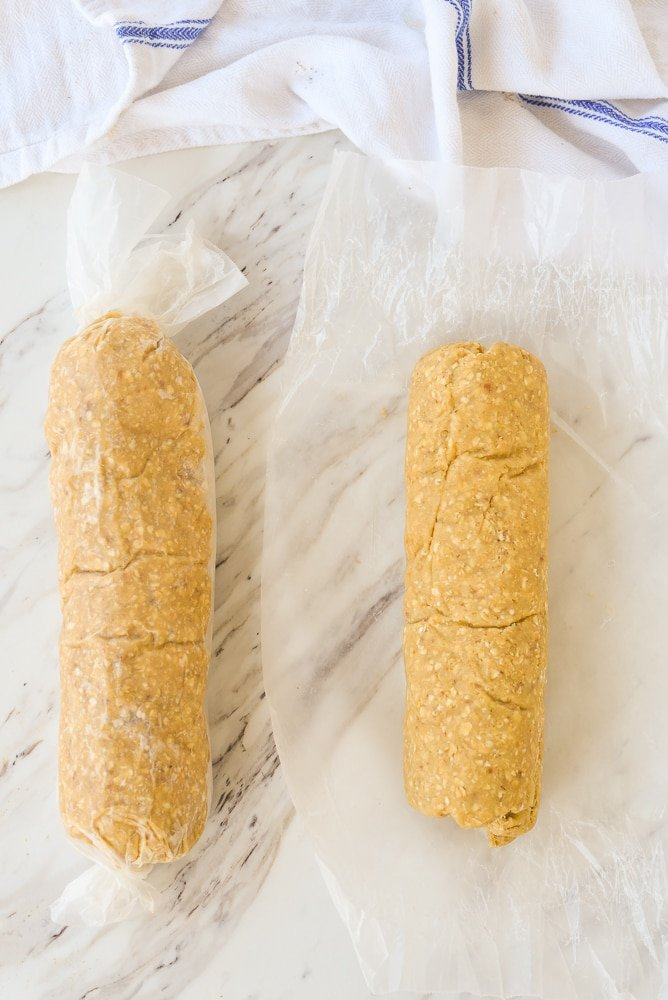 rolls of oatmeal cookie dough