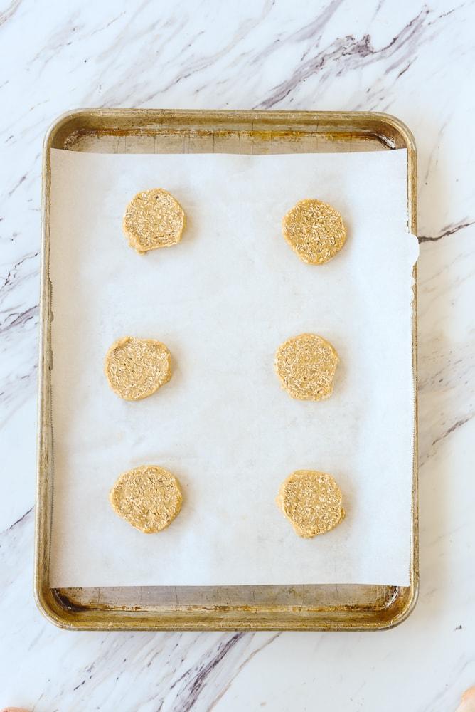 sliced oatmeal cookies ready to bake