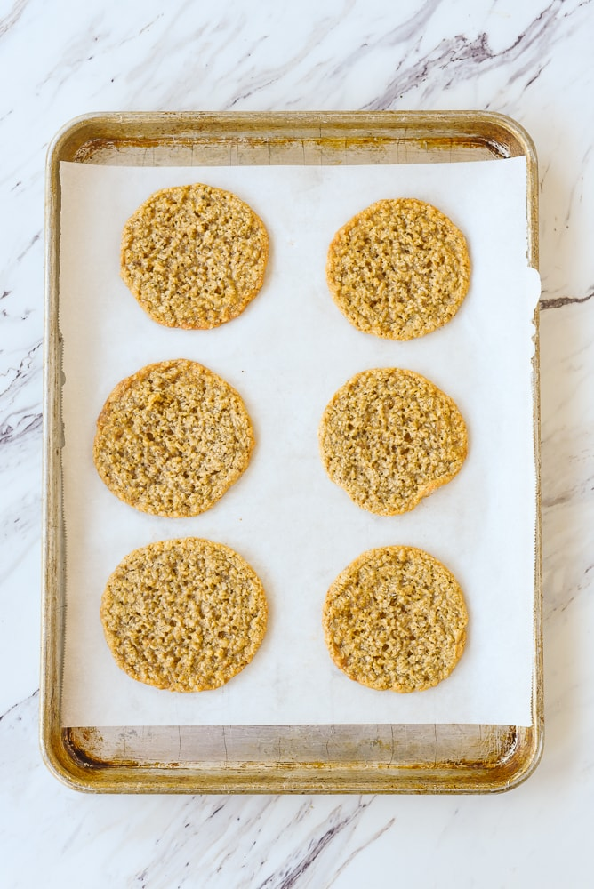 overhead shot of baked oatmeal cookies
