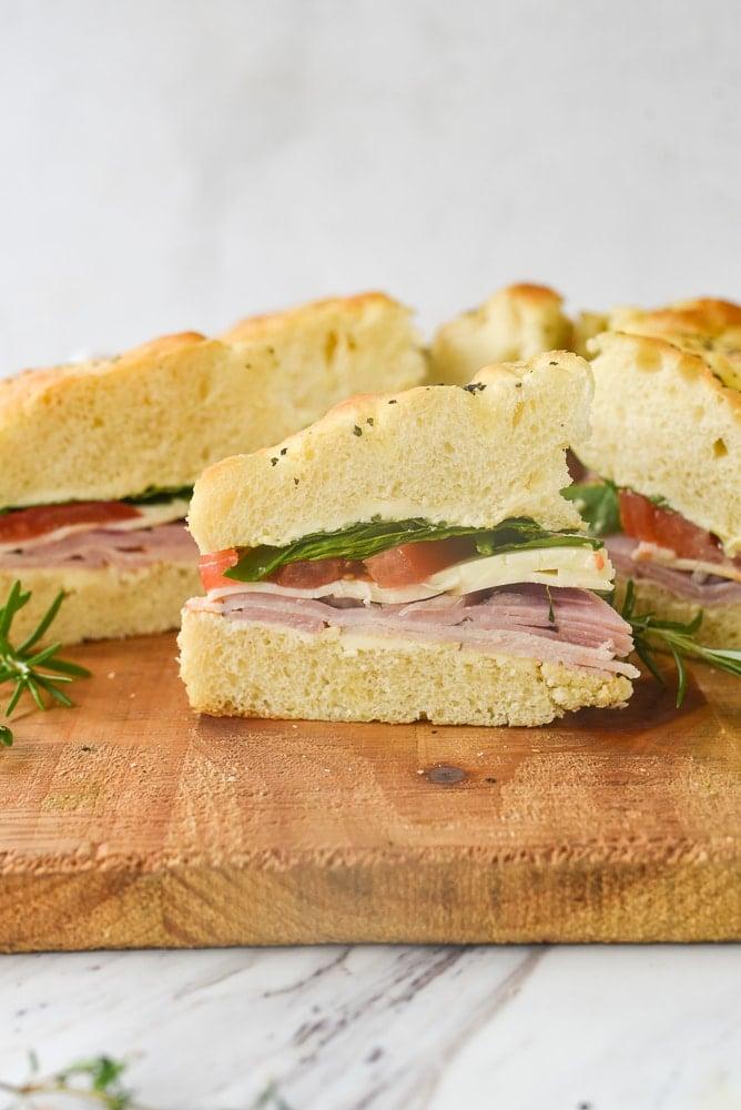slices of a focaccia sandwich