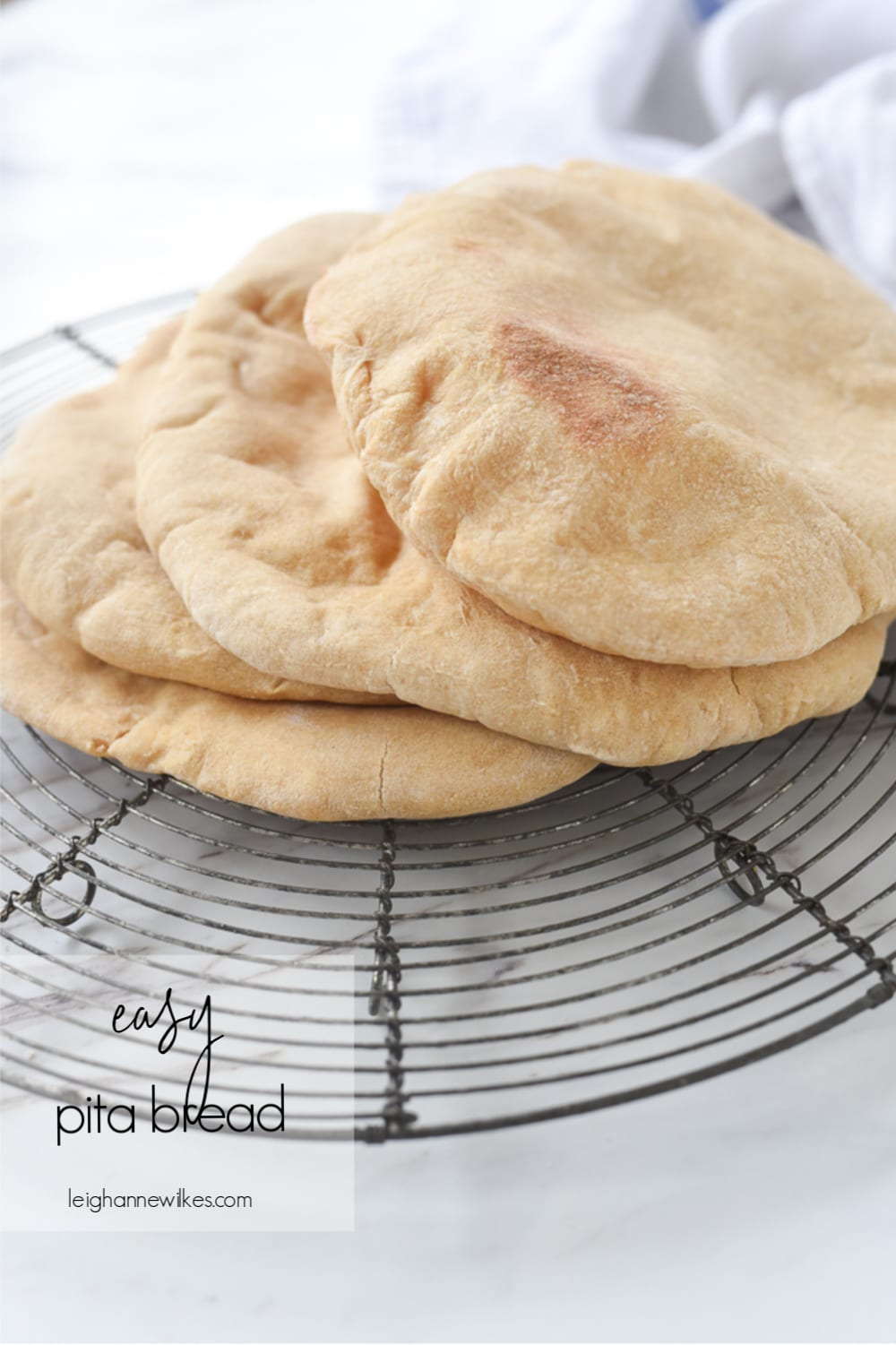 pita bread on a cooling rack