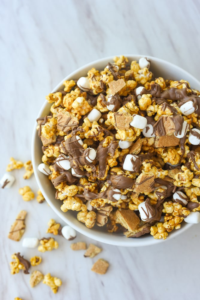 smore popcorn in a bowl