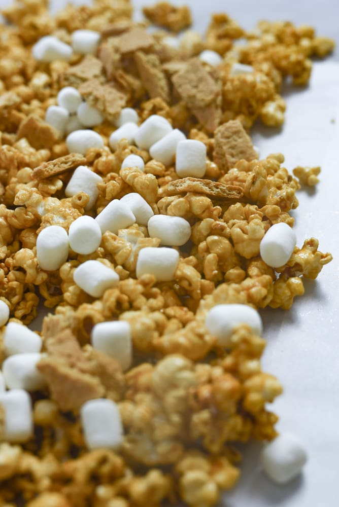 caramel corn with marshmallows and graham crackers
