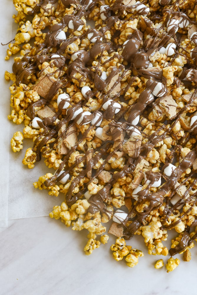 chocolate drizzled over smores popcorn