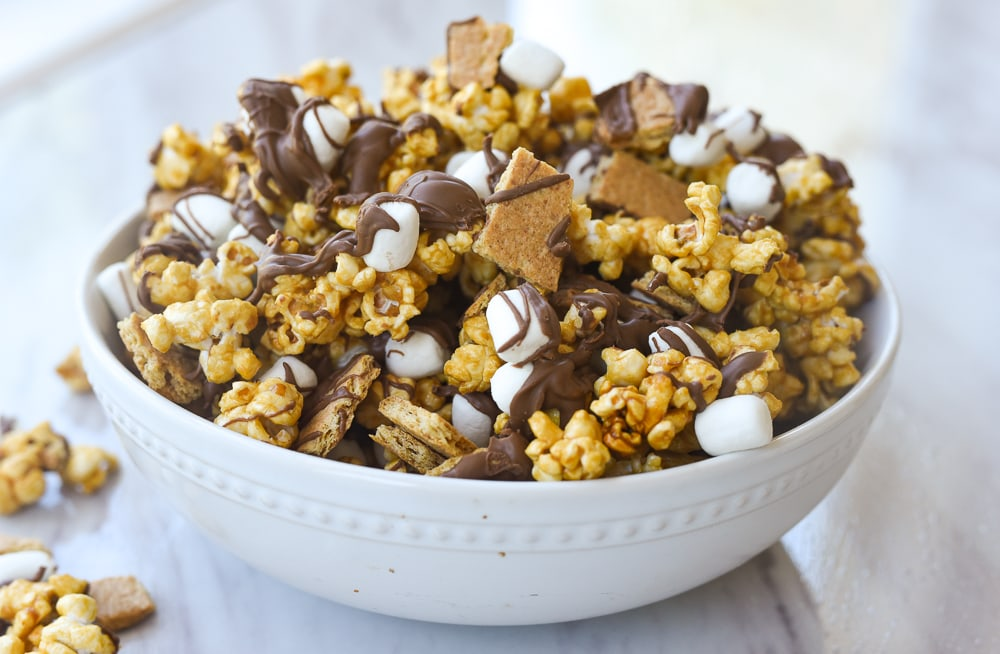 white bowl of caramel corn