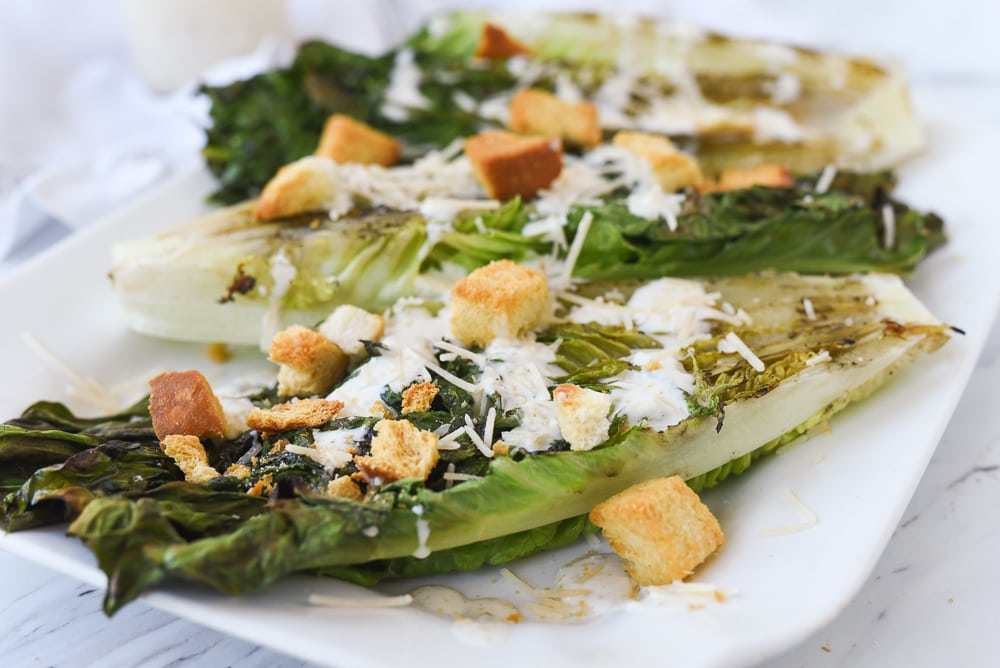 grilled lettuce on plate