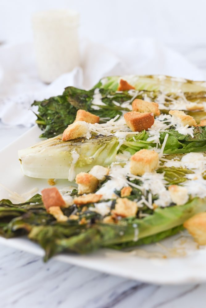 side view of grilled caesar salad