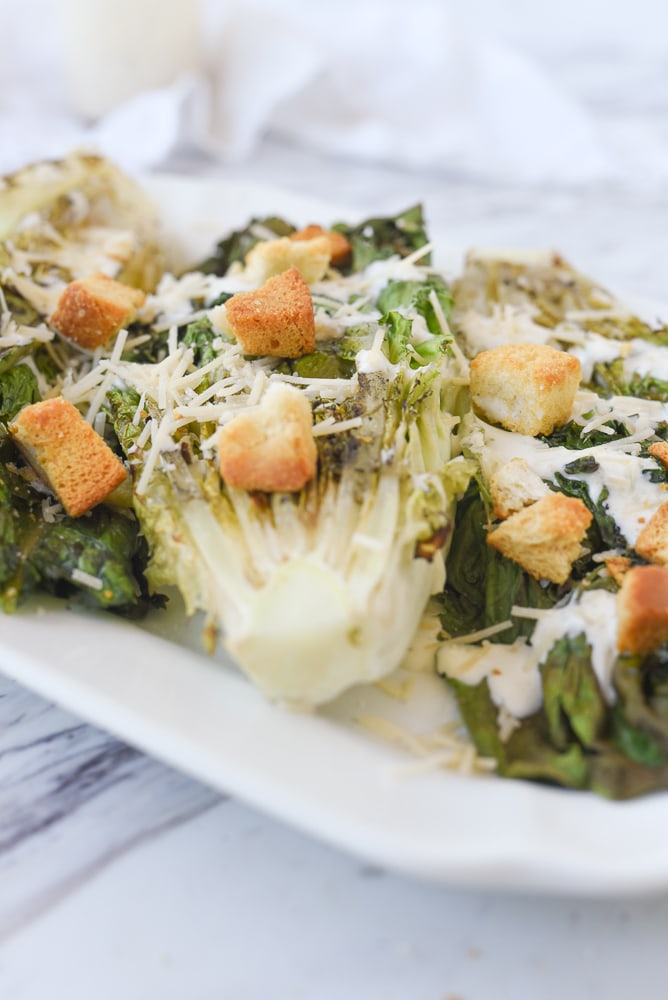 grilled caesar salad on a plate