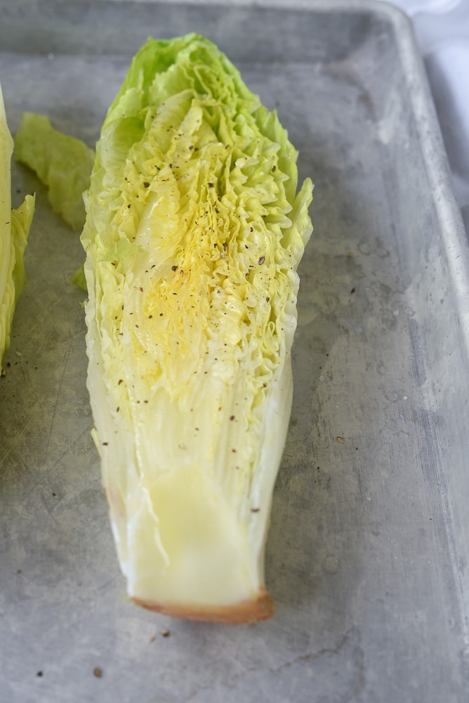 romaine lettuce ready for grilling